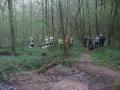 Alarmübung Frankelbach; Feuerwehrkräfte und Forstmitarbeiter