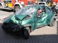 Schrottwagen als Unfallfahrzeug für Vorführung hergerichtet