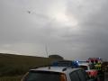 18. Juni 2016 - Verkehrsunfall, L388 Schneckenhausen - Heiligenmoschel; Der Rettungshubschrauber überfliegt die Einsatzstelle.