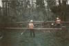 Orkan Wiebke: Am 1. März 1990 schnitten die Feuerwehrangehörigen einen Waldweg frei.
