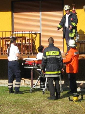 Absprache mit dem Rettungsdienstpersonal über das weitere Vorgehen.