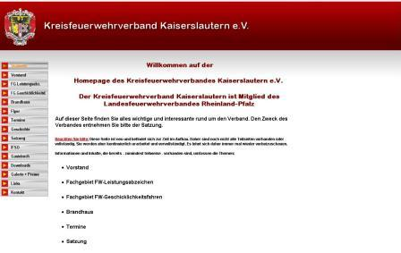 Homepage Kreisfeuerwehrverband Kaiserslautern e.V. (Screenshot)