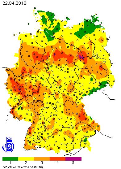 Deutschlandkarte mit dem Tageswert des Waldbrandgefahrenindex M-68 am 22. April 2010 um 13:45 Uhr
