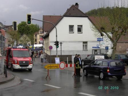Absicherung der Hauptstraße Otterberg bei der Verbandsgemeindeverwaltung