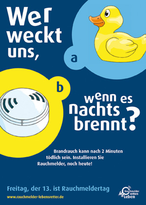 """Gewinnermotiv und neues Plakat für den bundesweiten Rauchmeldertag """"Freitag, der 13."""" 2010, eobiont GmbH"""