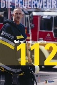 Notruf europaweit: 112 - Aktionsplakat zum EU-Notruftag am 11.2.2011; Herausgeber: Deutscher Feuerwehrverband (DFV)
