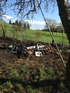 Brand Gartenlaube in Schneckenhausen