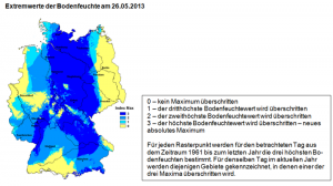 Abbildung zeigt die Bedingungen am Beispiel von Flächen mit Wintergetreide auf leichten Standorten. Während zu diesem Zeitpunkt in Deutschland im Mittel eine Bodenfeuchte von ca. 60 Prozent nutzbarer Feldkapazität besteht, sind es aktuell 95 Prozent. Quelle: DWD