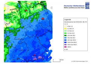 Wochenniederschlagsmengen bis 3. Juni 2013 über Deutschland Quelle: DWD