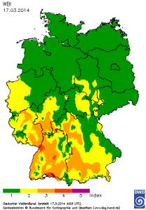 Deutschlandkarte mit dem Tageswert des Waldbrandgefahrenindex M-68 am 17. März 2014