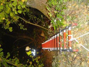 Mittels tragbarer Leiter geht es den Hang hinunter.