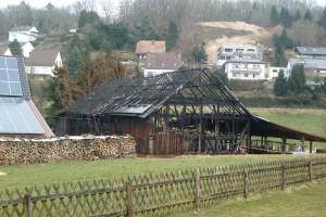 Die Scheune rund eine Woche nach dem Brand.