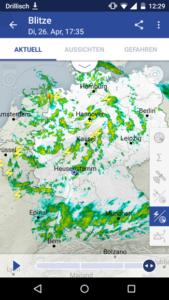 Wetterradar mit Darstellung Blitze, Bild: DWD
