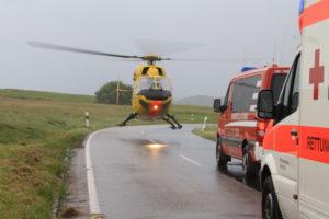 Der Rettungshubschrauber aus Mainz landete auf der Landesstraße.