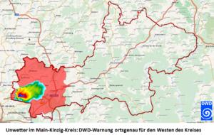 Ortsgenaue Warnung am Beispiel eines Unwetters im recht großen hessischen Main-Kinzig-Kreis. Der DWD warnt entsprechend der Wetterlage jetzt nur noch den vom Unwetter betroffene Westen des Kreises. Zuvor wäre das gesamte Kreisgebiet Rot eingefärbt worden.