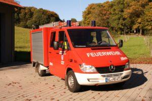 TSF vor dem Feuerwehrhaus Mehlbach.