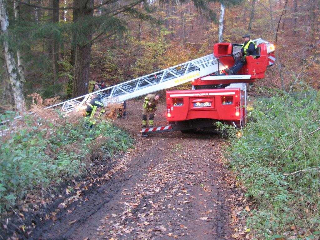 Amtshilfe Polizei: Die Drehleiter wurde auf einem Waldweg aufgestellt.