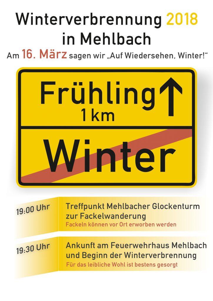 Flyer Winterverbrennung 2018 in Mehlbach
