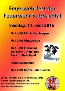 Plakat Feuerwehrfest Sulzbachtal
