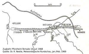 Zugbahn © Dr. R. Nestle, Meteorologische Rundschau, Jan./Feb. 1969